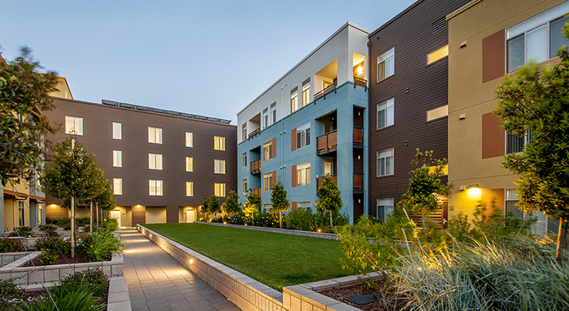 Modern Apartment Building with lighted courtyard